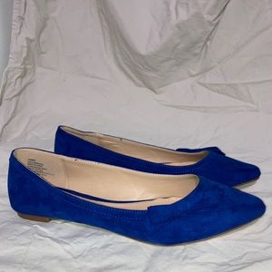 Justfab blue jewel tone pointed toe flats with bow